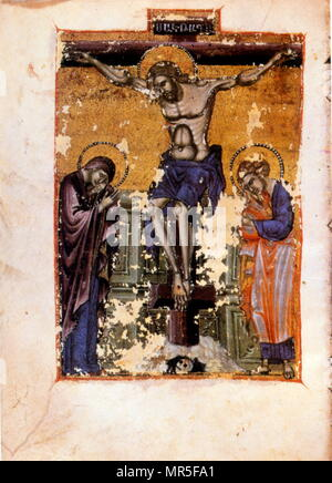 Armenian Christian illustrated manuscript showing the crucifixion; 14th century - Stock Photo