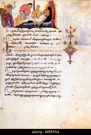 Armenian Christian illustrated manuscript showing the entombment of Christ: 14th century - Stock Photo