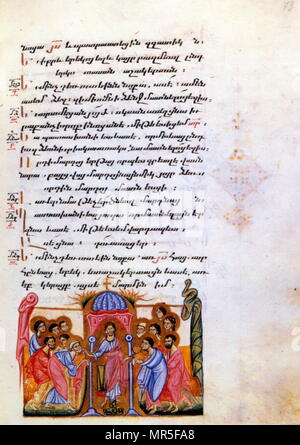 Armenian Christian illustrated manuscript showing the Christ with the apostles: 14th century - Stock Photo