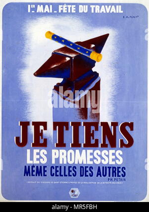 Propaganda poster issued by Marshall Petain the Vichy French Leader for May Day workers festival in Wartime France. - Stock Photo