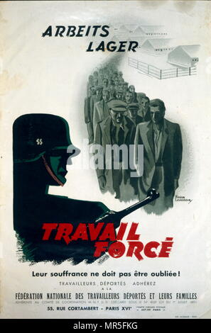 French World War two resistance movement, propaganda poster concerning forced labour by French prisoners of war 1943. Issued by the 'Mouvement National des Prisonniers de Guerre et Déportés (MNPGD); ', directed by François Mitterrand, a clandestine movement where the Prisoners of War made an important contribution to the Resistance - Stock Photo