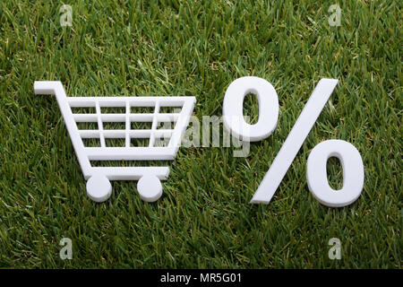 High Angle View Of White Miniature Shopping Cart And Percentage Sign On Green Grass - Stock Photo