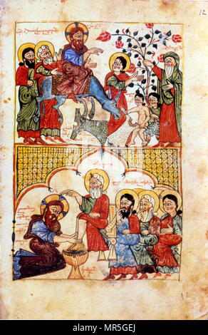14th century, Armenian Evangelical manuscript, by  Khisanetzi, The entry of Christ into Jerusalem and the washing of the feet. 1392 - Stock Photo
