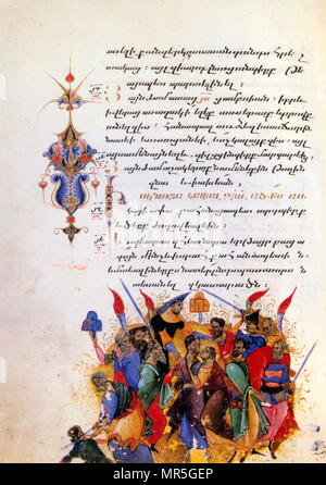 14th century, Armenian Evangelical manuscript, by sarkis pitsak 1320. The arrest of Jesus - Stock Photo