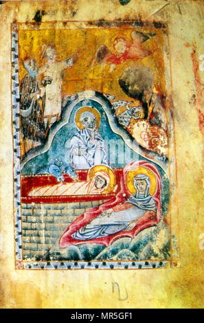 14th century, Armenian Evangelical manuscript, the nativity - Stock Photo