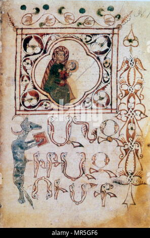 14th century, Armenian Evangelical manuscript, The Virgin Mary and infant Jesus - Stock Photo
