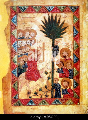 14th century, Armenian Evangelical manuscript,  entry of Christ into Jerusalem . 1392 - Stock Photo
