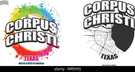 Corpus Christi, Texas, logo design. Two in one vector arts. Big logo with vintage letters with nice colored background and one-color-version with map  - Stock Photo