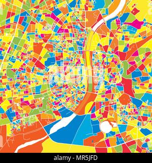 Ahmedabad, India, colorful vector map.  White streets, railways and water. Bright colored landmark shapes. Art print pattern. - Stock Photo