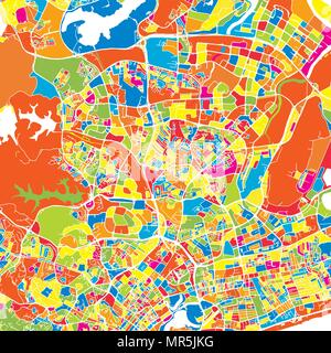 Singapore, Singapore, colorful vector map.  White streets, railways and water. Bright colored landmark shapes. Art print pattern. - Stock Photo