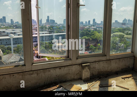 at an abandoned tower restaurant and bar in Bangkok, Thailand - Stock Photo