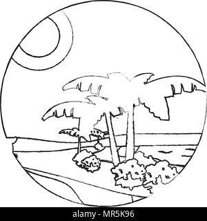 grunge desert palm tree with island landscape - Stock Photo