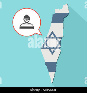 Illustration of a long shadow Israel map with its flag and a comic balloon with thief - Stock Photo