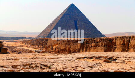 The Pyramid of Menkaure, on the Giza Plateau, Cairo, Egypt, is the smallest of the three main Pyramids of Giza. It is thought to have been built to serve as the tomb of the fourth dynasty Egyptian Pharaoh Menkaure. circa 2500 BC - Stock Photo