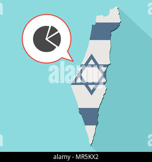 Illustration of a long shadow Israel map with its flag and a comic balloon with pie chart - Stock Photo