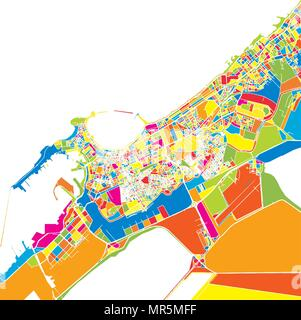 Alexandria, Egypt, colorful vector map.  White streets, railways and water. Bright colored landmark shapes. Art print pattern. - Stock Photo