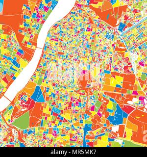 Kolkata, India, colorful vector map.  White streets, railways and water. Bright colored landmark shapes. Art print pattern. - Stock Photo