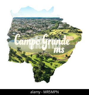 Map of Mato Grosso do Sul state with image of Campo Grande inside, the capital. Illustration concept with aerial photo of Parque das Nacoes Indigenas, - Stock Photo