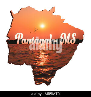 Map of Mato Grosso do Sul state, illustration concept of the Pantanal MS. Outlines of the MS state with the beautiful nature of the Pantanal Sul-Mato- - Stock Photo