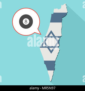 Illustration of a long shadow Israel map with its flag and a comic balloon with a eight pool ballball - Stock Photo