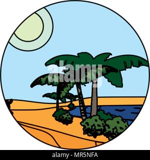 color desert palm tree with island landscape - Stock Photo