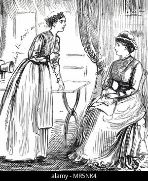 Illustration depicting women listening to a phonograph. The phonograph was invented in 1877, for the mechanical recording and reproduction of sound by Thomas Edison. Thomas Edison (1847-1931) an American inventor and businessman. Dated 19th century - Stock Photo