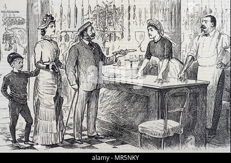 Cartoon commenting on the average Englishman's shaky understanding of the metric system. Illustrated by George du Maurier (1834-1896) a Franco-British cartoonist and author. Dated 19th century - Stock Photo