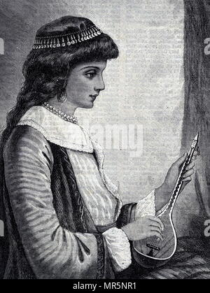 Engraving depicting a young woman playing a mandolin. Dated 19th century - Stock Photo