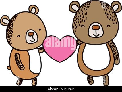 color couple bear with cute heart in their hands - Stock Photo