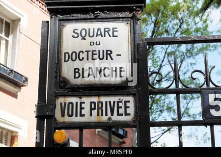 Square du Docteur - Blanche street sign on gate outside Le Corbusier and Pierre Jeanneret designed house Maison La Roche in Paris France  KATHY DEWITT - Stock Photo
