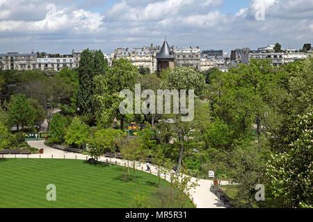 Jardin d'Acclimatation view over park from Fondation Louis Vuitton building in Paris, France Europe  KATHY DEWITT - Stock Photo