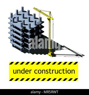 Vector isometric illustration, building under construction and crane - Stock Photo