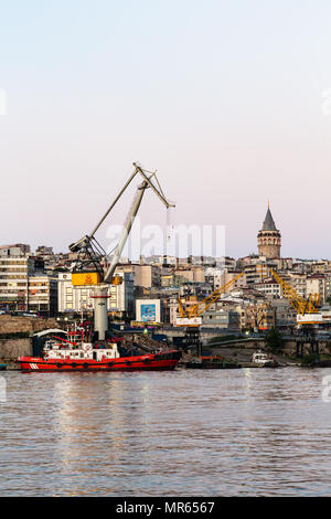 ISTANBUL, TURKEY - MAY 13, 2018: landing stage on Golden Horn bay in Galata (Karakoy) District. Karakoy is a commercial quarter in the Beyoglu distric - Stock Photo
