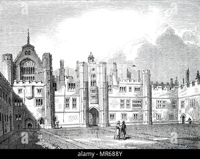Engraving depicting the exterior of Hampton Court Palace, royal palace in the borough of Richmond upon Thames, London, built for Cardinal Thomas Wolsey. Cardinal Thomas Wolsey (1473-1530) an English churchman, statesman and a cardinal of the Catholic Church. Dated 19th century - Stock Photo