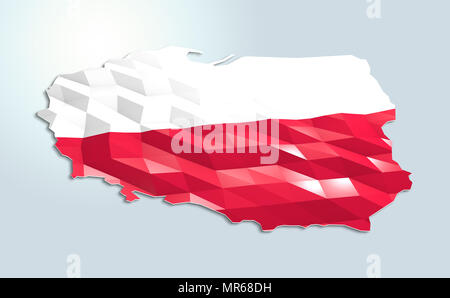 Low poly flag in Map of Poland, 3d rendering, art icon - Stock Photo