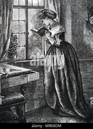 Illustration depicting a young woman reading by an open window. Illustrated by Mary Ellen Edwards (1838-1934) an English artist and illustrator of children's books. Dated 19th century - Stock Photo