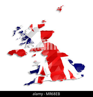 Low poly flag in Map of United Kingdom, 3d rendering, art icon - Stock Photo