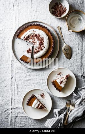 Raw Vegan Chocolate Cream Tart - Stock Photo