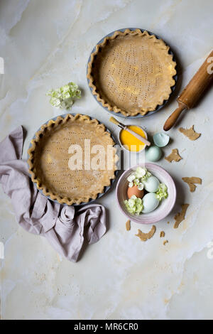 Home made Pie Crust with filling being prepared - Stock Photo