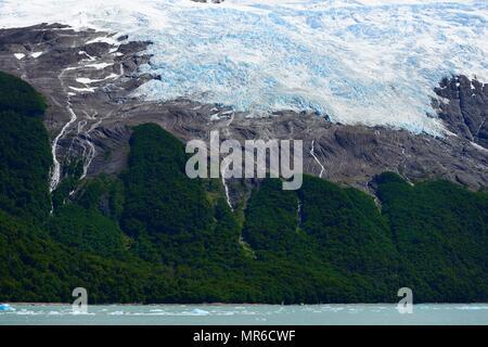 Melting arm of the Spegazzini Glacier on Lake Argentino, Parque Nacional Los Glaciares, El Calafate, Santa Cruz Province - Stock Photo