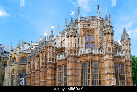 South face of Westminster Abbey, Gothic church, in the City of Westminster, London, just to the west of the Palace of Westminster. - Stock Photo