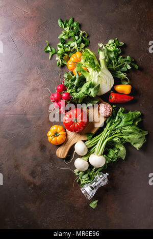 Variety of wet raw fresh organic colorful vegetables tomatoes, radish with leaves, fennel, paprika, salt, pepper, wooden chopping board for salad over - Stock Photo