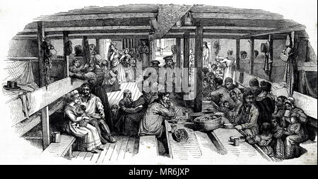 Engraving depicting emigrants bound for Sydney in their quarters on board the St Vincent. Through Her Majesty's Colonial Land and Emigration Commissioners, the government gave free passages to certain categories of workers whose skills were needed in Australia. These included farm and domestic workers, blacksmiths, wheelwrights and carpenters. Dated 19th century - Stock Photo