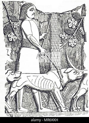 Engraving depicting a huntsman and dogs. Engraving of detail from a slab excavated at Kouyunjik during the 1840s. Dated 19th century - Stock Photo