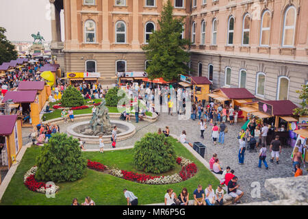 Budapest, Hungary - September 19, 2015: People visit at 'Sweet Days - Chocolate and Candy Festival' that occurred on the dates 18-20.9.15 in Buda Cast - Stock Photo