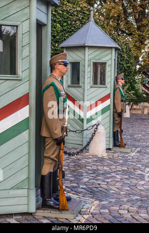 Budapest, Hungary - September 19, 2015: Ceremonial guard at the Presidential Palace. They guard the entrance of the Presidents office in the Sandor Pa - Stock Photo