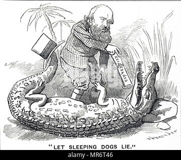 Cartoon titled 'Let Sleeping Dogs Lie'. Punch's advice to Prime Minister Lord Salisbury on the Suez Canal. However, at the Paris Convention an agreement was signed between Britain and France neutralising the canal and placing it under a joint commission. Dated 19th century - Stock Photo