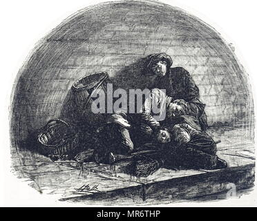 Engraving depicting homeless Londoners sleeping rough under a railway arch. Dated 19th century - Stock Photo