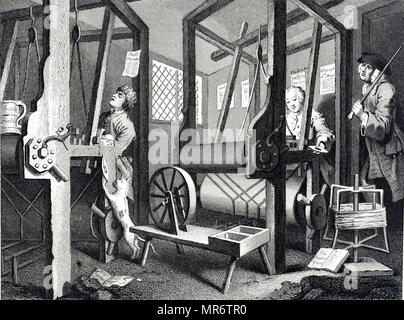 Plate 1 – The Fellow 'Prentices at their Looms' from the Industry and Idleness series by William Hogarth. The industrious apprentice quietly gets on with his weaving, while the idle apprentice sleeps off the effects of a night of revelling. William Hogarth (1697-1764) an English painter, printmaker, pictorial satirist, social critic, and editorial cartoonist. Dated 18th century - Stock Photo