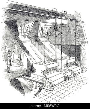 Engraving depicting machines used to crush malt. The malt was passed between steel rollers to produce 'grist', the coarseness of which could be varied by altering the distance of the rollers from each other. Dated 19th century - Stock Photo
